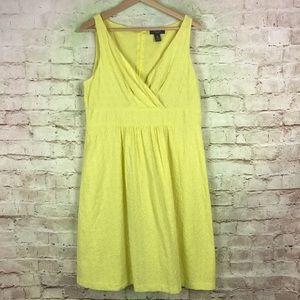 Chaps Empire Waist Eyelet Dress Size 14 Yellow